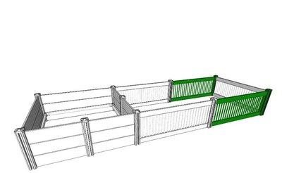 Uitbreidingsset 2 panelen van 150cm voor Werpkist Kunststof