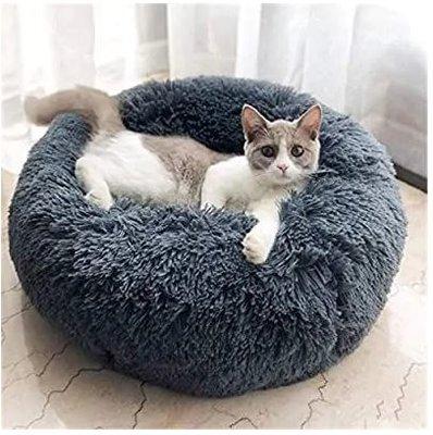Fluffy Donut Kattenmand - Antraciet - Diverse Maten